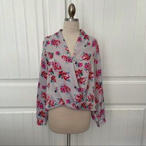Lush Long Sleeve Floral Draped Blouse